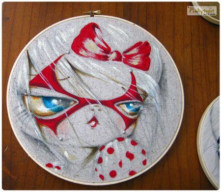 Red mask girl painting hoop 10 pinkytoast