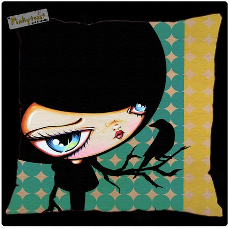 Black bird pinkytoast pillow big eyed girl spoonflower