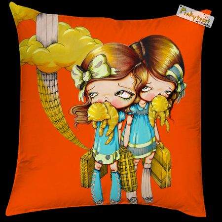 Pinkytoast pillow orange kitty mouth art