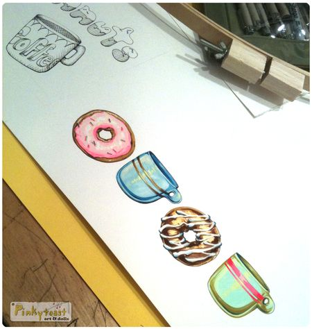 1 coffe and donuts studio pinkytoast painting