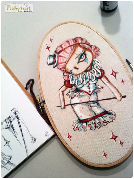 2 carnival clown girl in red pinkytoast oval canvas painting