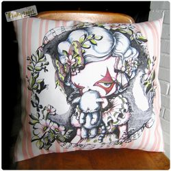 3 pink kitty mouth pinkytoast clown pillow