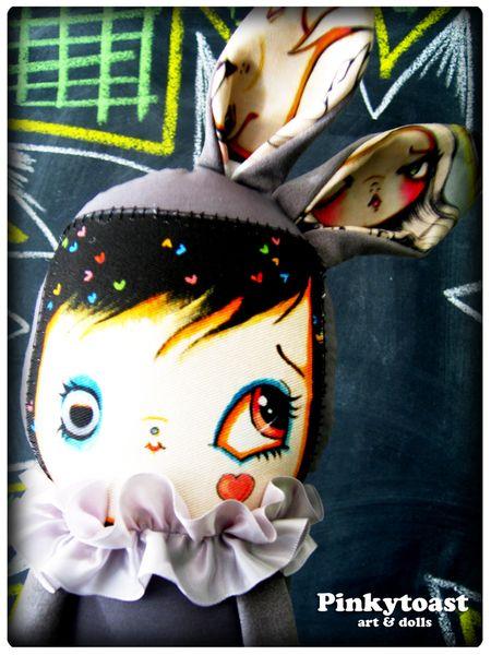 Happy bunny in grey and candy heart pinkytoast art doll