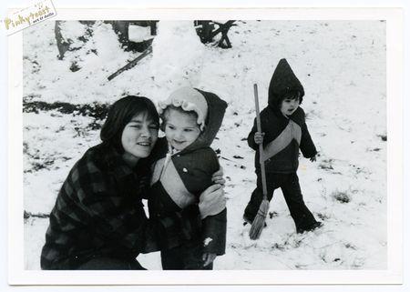 Christmas snow little sandra vintage photo