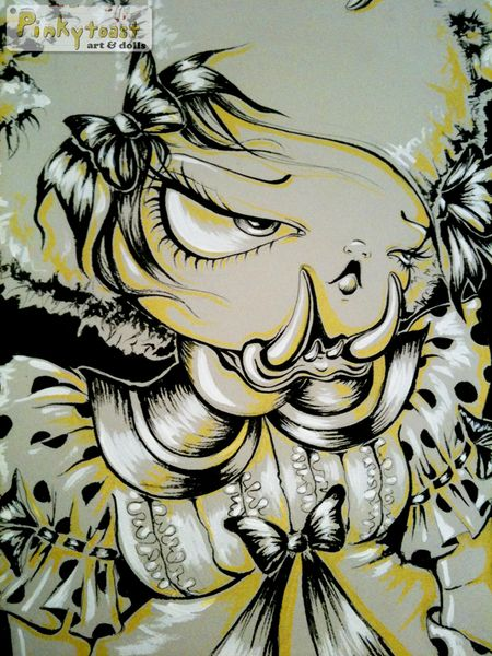 Goldielocks and the three bears pinkytoast ink painting