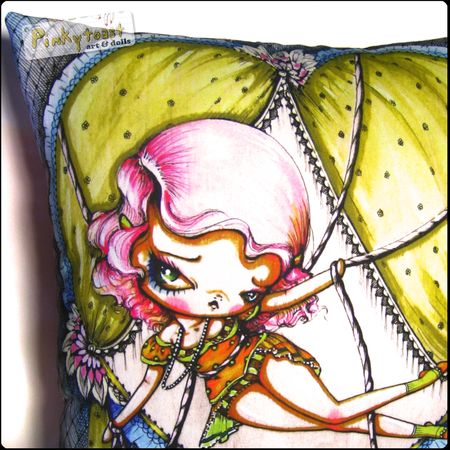 Tied up in love 6 pinup big eyed pinkytoast pillow
