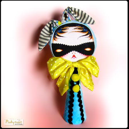 Dream robber masked 3 bunny cone doll in blue pinytoast art