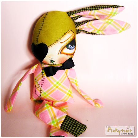 Love bunny 3 in pink plaid and black heart eye patch pinkytoast