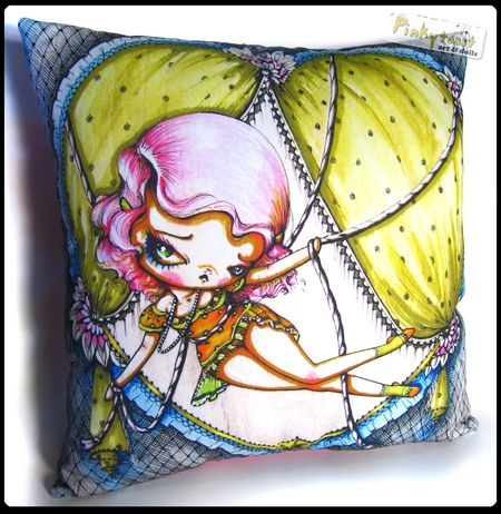 Tied up in love pinup big eyed 2 pinkytoast pillow