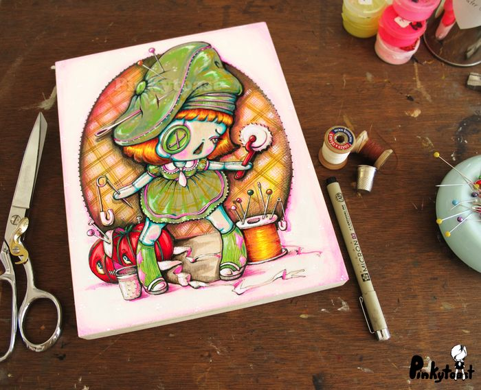 Green bobbin and naughty notions sewing girl pinkytoast painting etsy