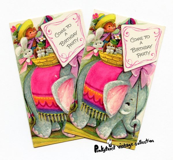 Circus birthday invite vintage elephant