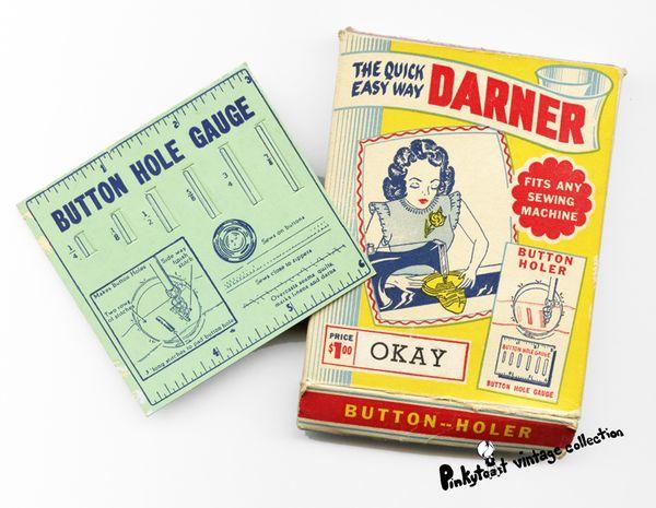 Button holer vintage darner sewing notions 1940 1930
