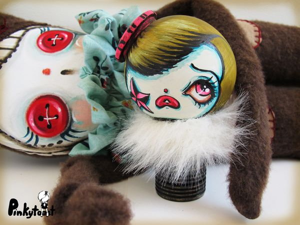 Green carnival clown doll mod kokeshi pinkytoast ooak