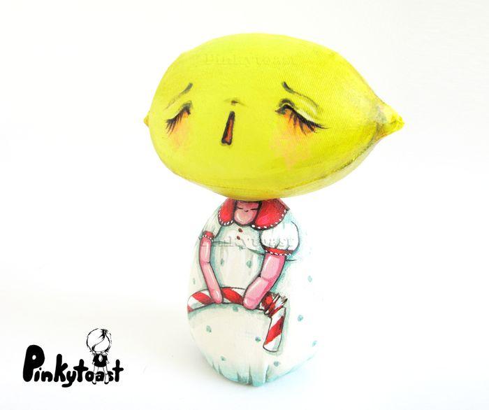 Straw lemon lament sad girl fabric art doll pinkytoast ooak etsy