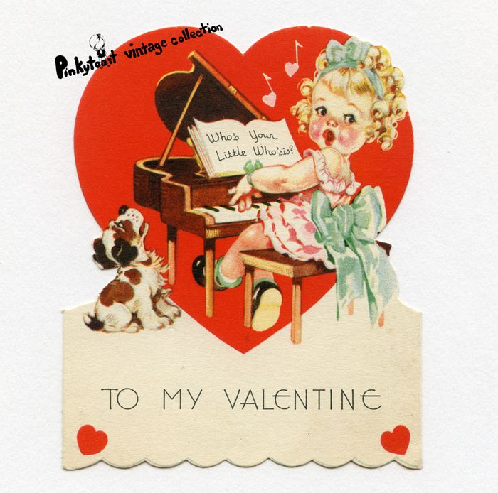 Valentine piano girl vintage 1950 pinytoast