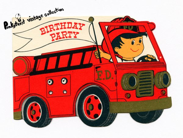 Fire truck birthday party invite vintage card art