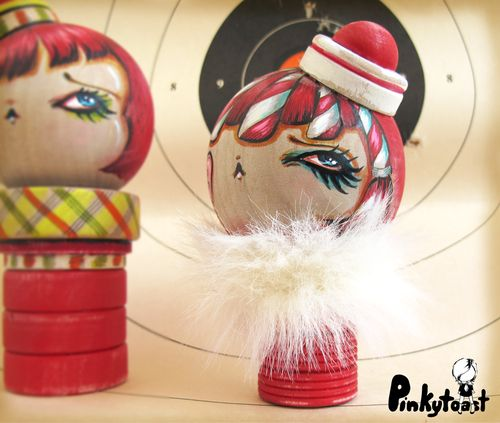 Sailor girl carnival clown doll kokeshi pinkytoast ooak