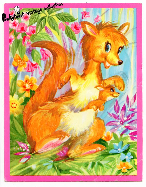 Kitsch kangaroo vintage card big eye art pinkytoast