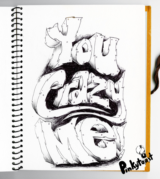 You crazy me sketchbook font page pinkytoast