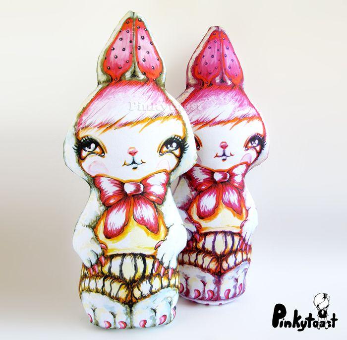 Happy bunny cut and sew rabbit fabric doll pinkytoast etsy retro