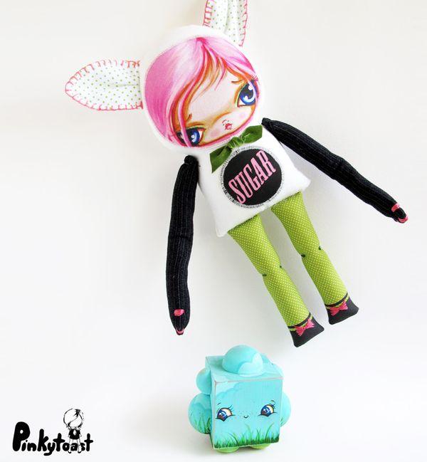 Sugar kitty kawaii pinkytoast cat girl big eye art doll etsy