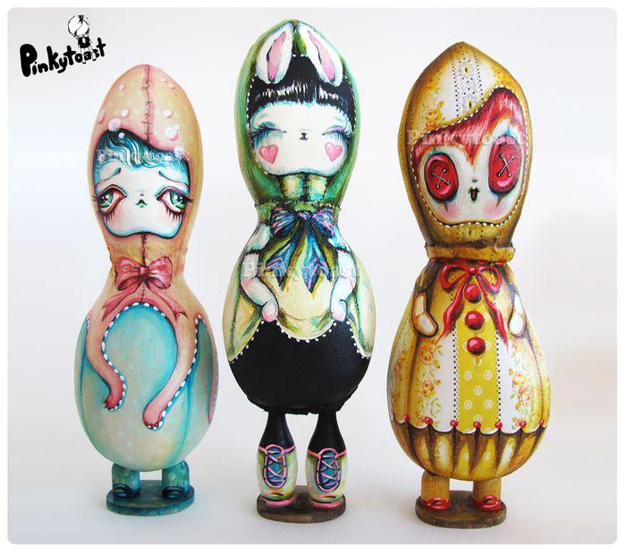 Love bunny tall goth art doll pinkytoast sweet potato ooak 2013