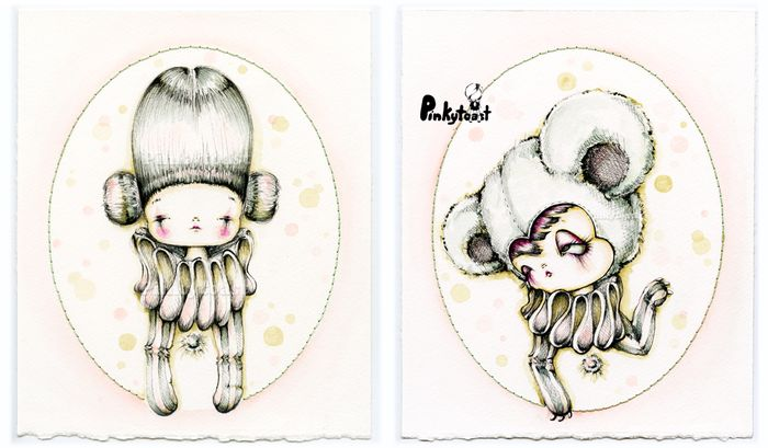 Pastel clown bear watercolor portrait pinkytoast painting etsy