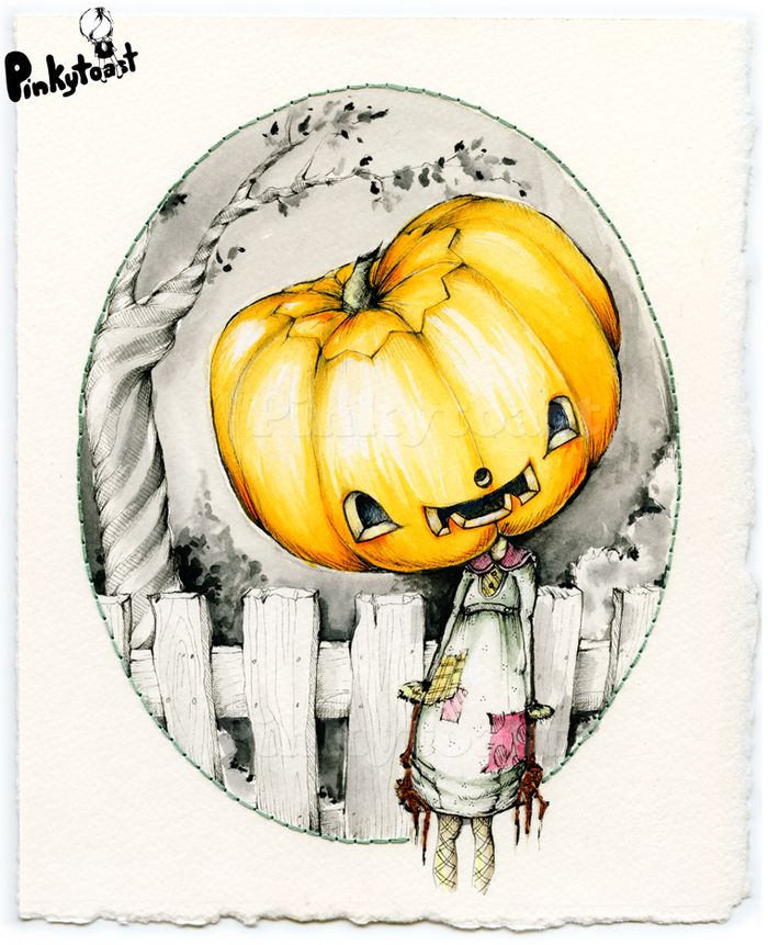 Halloween happy pumpkin girl vintage gothic portrait watercolor pinkytoast