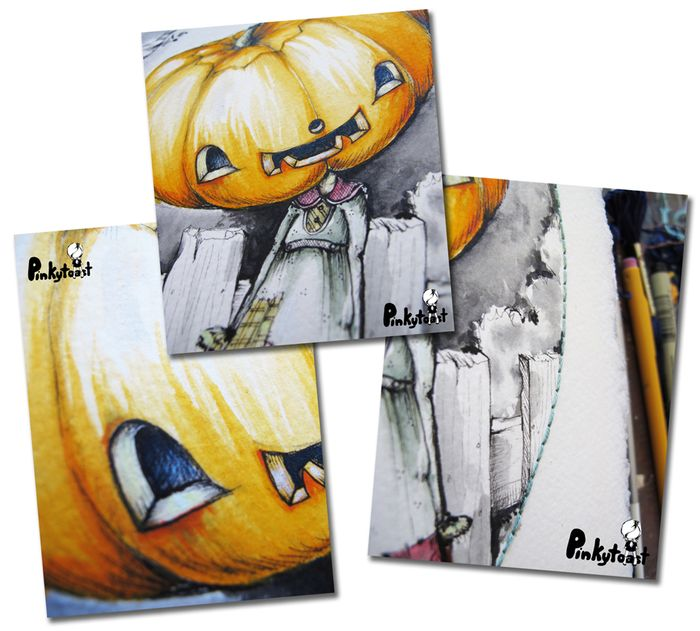Halloween happy pumpkinhead girl oval gothic portrait watercolor pinkytoast