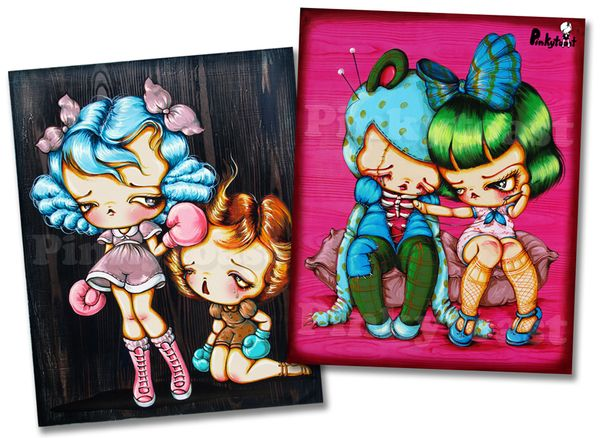 Knockout boxer girls pinkytoast painting pop surrealism