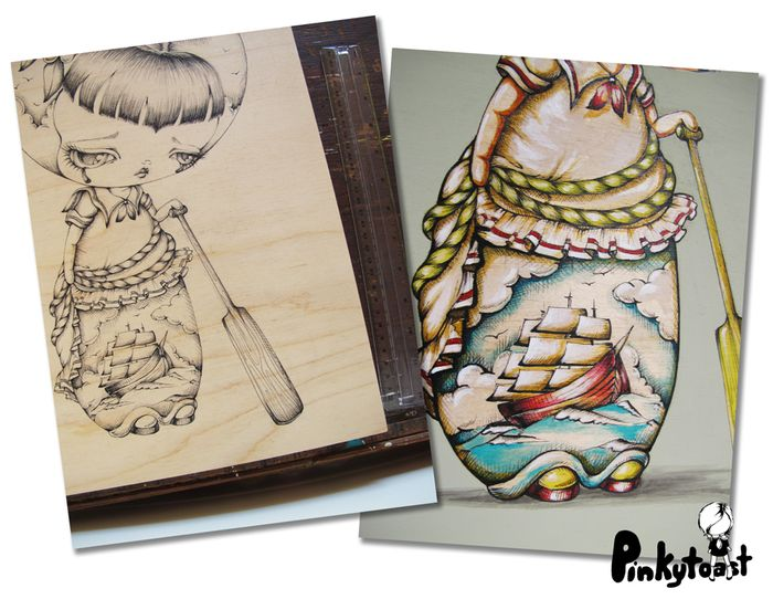 Ship at sea sailor tattoo girl vintage kokeshi doll pinkytoast flash art etsy
