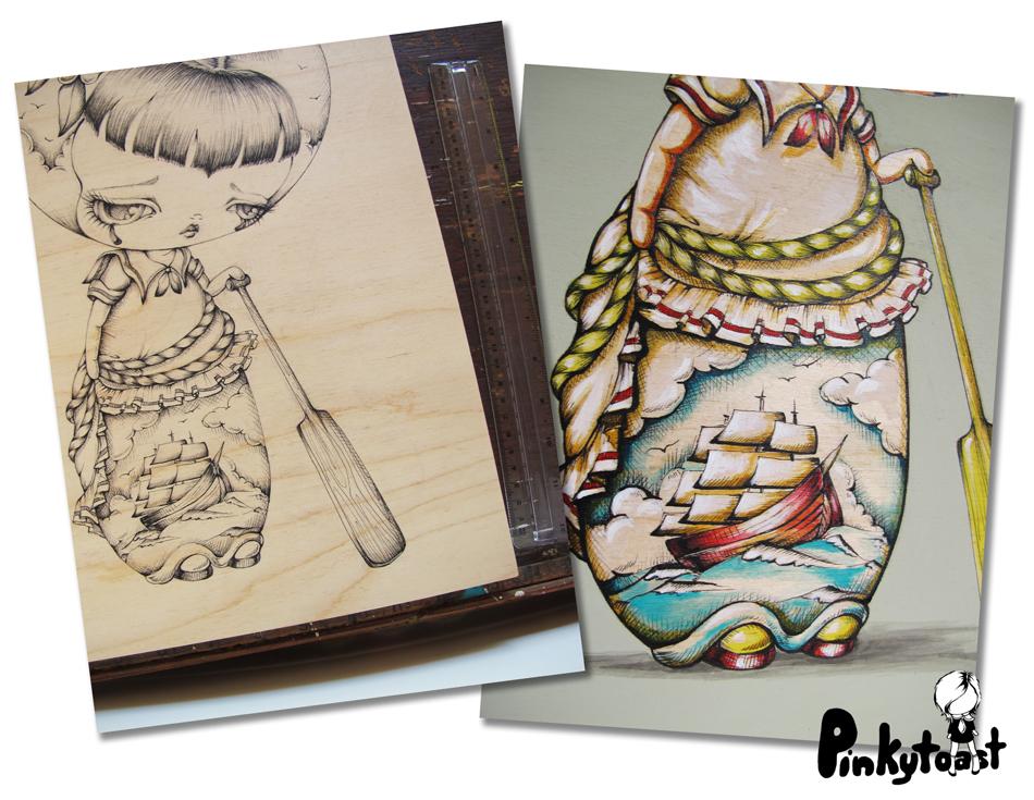 Victorian Girl Tattoos Ship at Sea Sailor Tattoo Girl