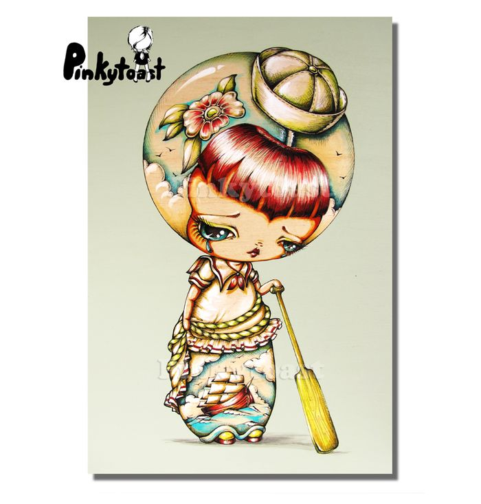 Ship at sea sailor tattoo girl vintage kokeshi doll pinkytoast painting etsy