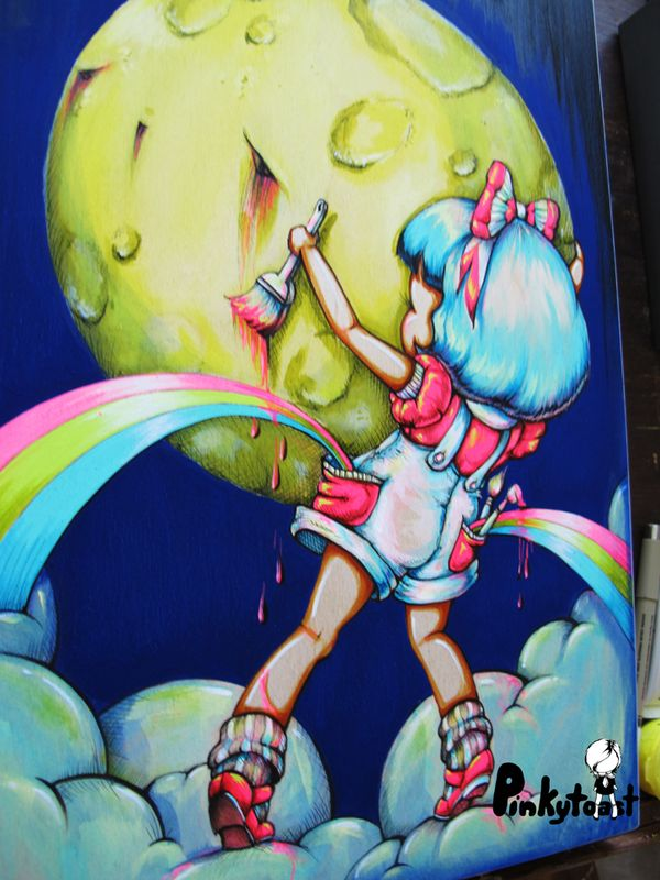 Rainbow pocket paint the moon pinkytoast painting kawaii girl