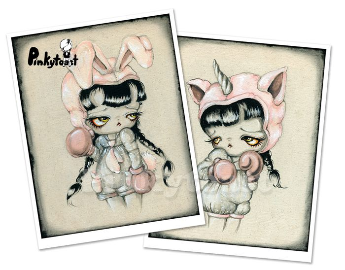 Boxer kawaii unicorn bunny rabbit girl pinkytoast etsy comic painting