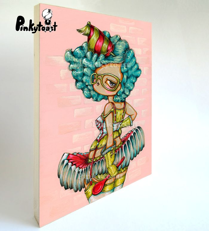 Big eye painting birthday spoon pinup girl pinkytoast clown etsy