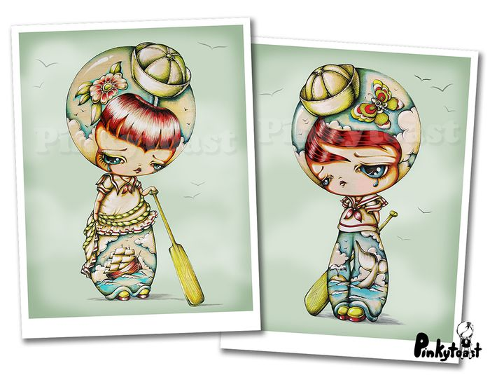 Ship at sea sailor tattoo kokeshi boy girl pair pinkytoast etsy