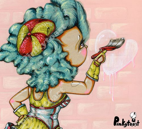 Birthday heart brush tattoo burlesque pinup girl pinkytoast painting