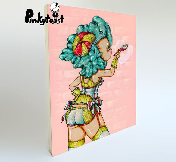 Birthday heart brush tattoo burlesque pinup girl pinkytoast big eye