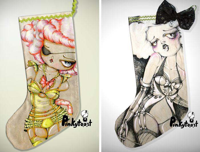 Christmas stocking burlesque pinup girl pinkytoast etsy