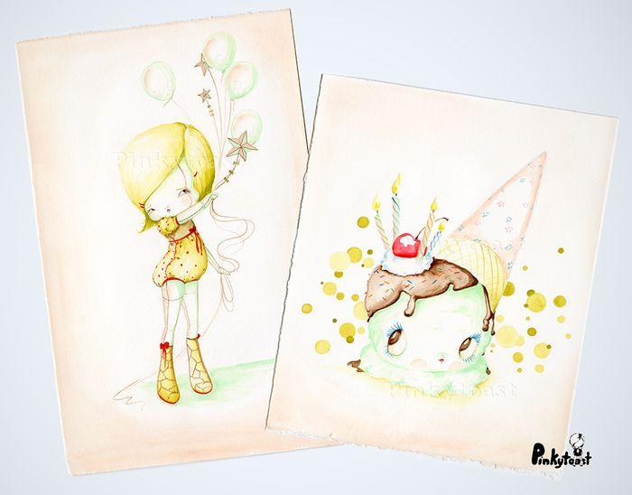 Kawaii noir birthday balloon sundae ice cream watercolor pinkytoast