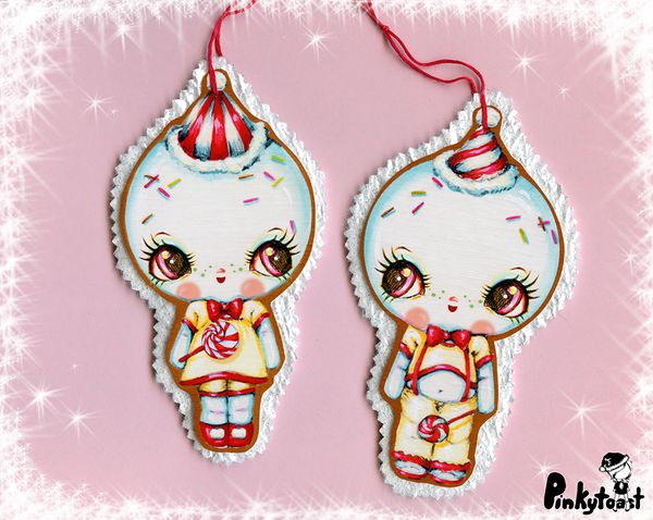 Kawaii snow gingerbread baby christmas ornament pair pinkytoast etsy