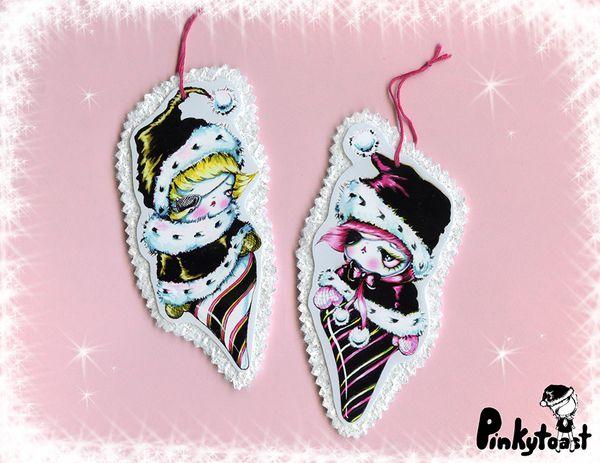 Christmas ornament kawaii noir hot pink pinkytoast gothic etsy
