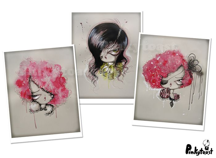 Strawberry hair girl portrait pinkytoast big eye art print set etsy