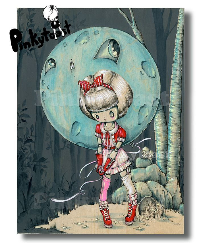 Robot girl moon balloon gothic pinkytoast forest etsy
