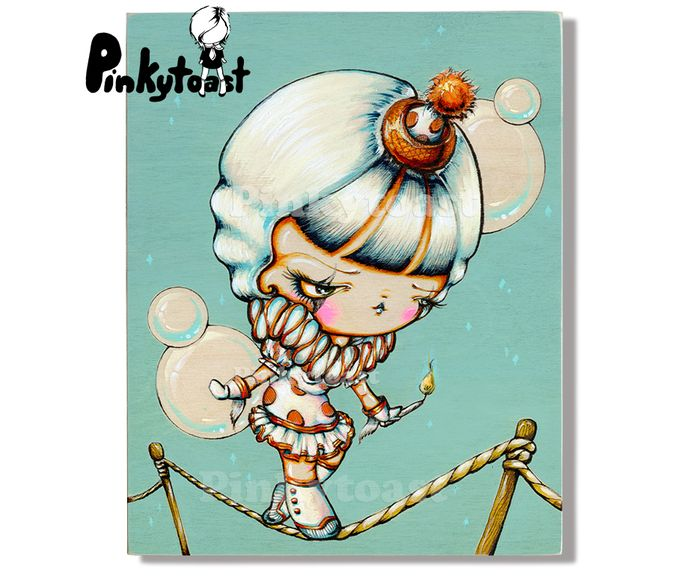 Tight rope walker vintage circus kokeshi girl pinkytoast 2013