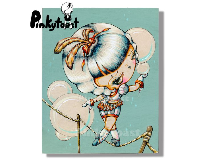 Vintage trapeze rope walker kokeshi girl circus pinkytoast art feathers